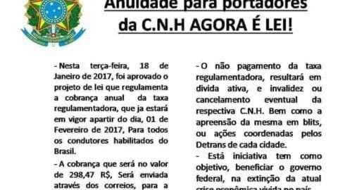 Noticia falsa sobre cobrança de anuidade de CNH