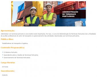 Curso Online Gratuito Administração de Terminais Portuários