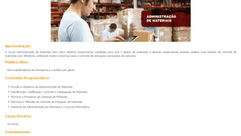 Curso Online Gratuito de Administração de Materiais SEST SENAT