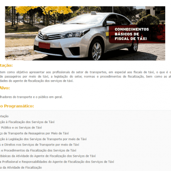 Curso Online Gratuito sobre Conhecimentos Básicos de Fiscal de Táxi