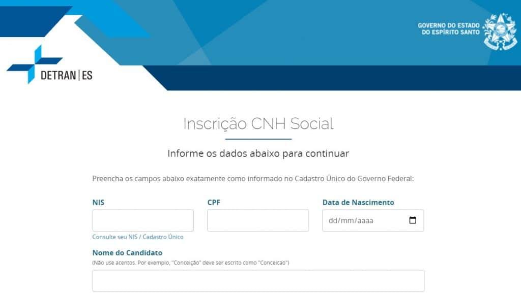 Inscrições para a CNH Social somente pela internet