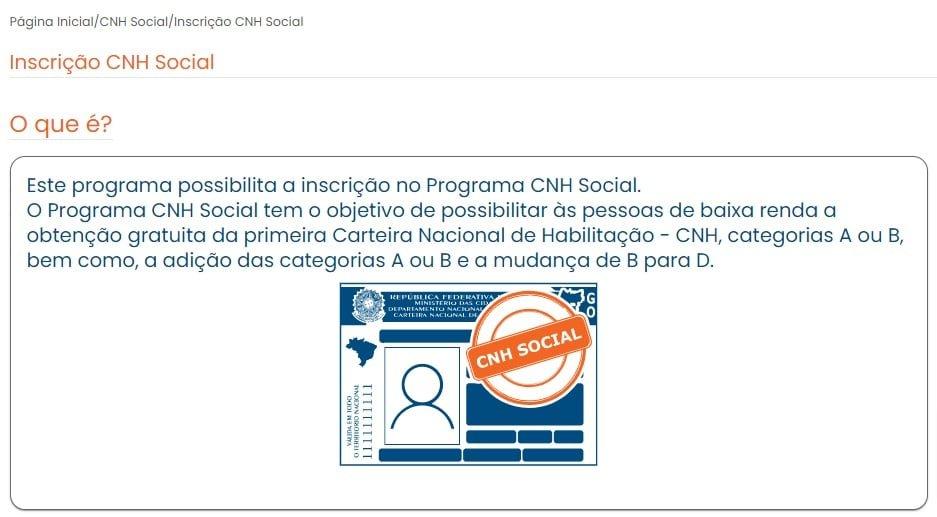 Cronograma do Programa CNH Social 4ª Etapa - DETRAN/GO