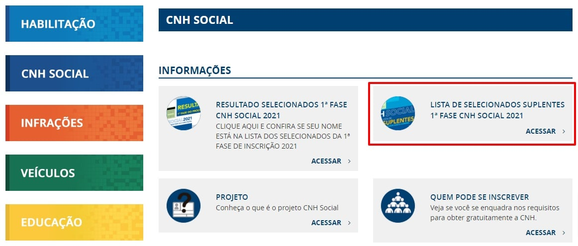 Lista de Selecionados Suplentes 1ª Fase CNH Social 2021 - DETRAN-ES